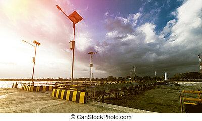 Beautiful Sunset and Beach Dock at Tropical Beach