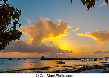 Beautiful sunset and beach in tropical Barbados