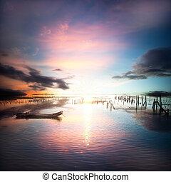 beautiful sunset and cloud