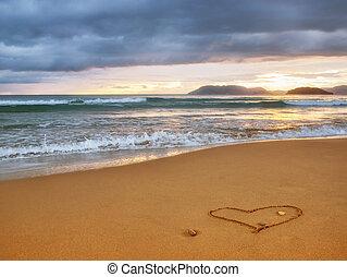 beautiful sunset and heart
