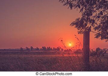 Beautiful sunset at a countryside