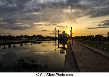 Beautiful sunset at Central Songkhla Mosque