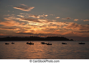 Beautiful sunset at Frence coast of Brittany