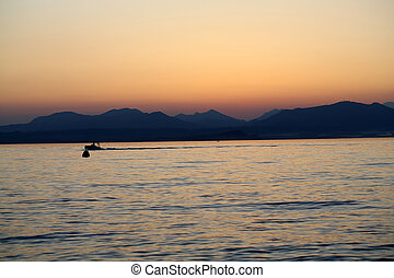 Beautiful sunset at Garda lake in Italy