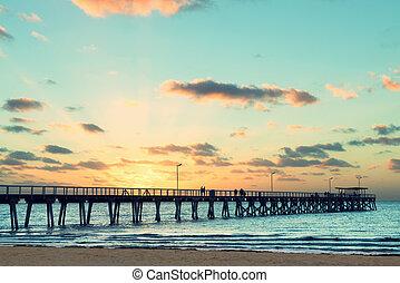 Beautiful sunset at Grange Jetty Adelaide Australia with ...