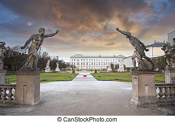 Mirabell Garden of Salzburg, Austria - Beautiful Sunset at...