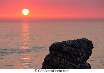 Beautiful sunset at most western point of German island...