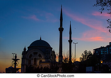 Beautiful sunset at Ortakoy mosque