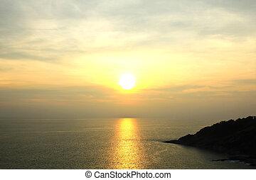 Beautiful sunset at Promthep cape view point, Phuket, Thailand
