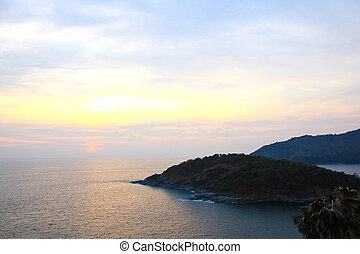Beautiful sunset at Promthep cape view point, Phuket,...