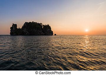 Beautiful sunset at sea at Krabi, Thailand