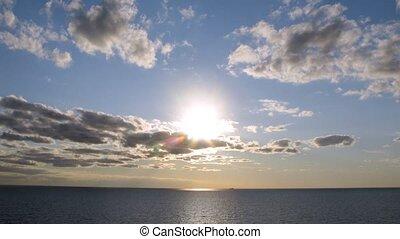 Beautiful sunset at sea, time lapse
