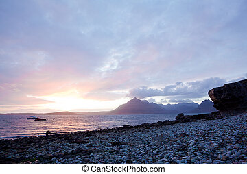 Elgol Isle of Skye Highland Scotland - Beautiful Sunset at...