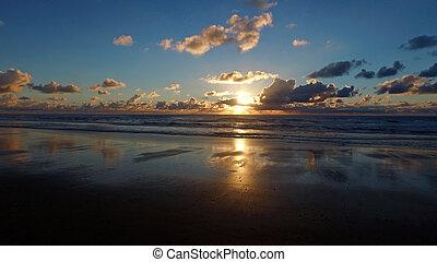 Beautiful sunset at the atlantic ocean in Portugal