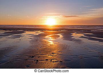 Beautiful sunset at the atlantic ocean
