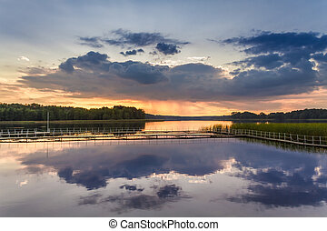 Beautiful sunset at the lake in Poland