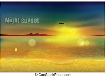 beautiful sunset at the oasis vector, painting