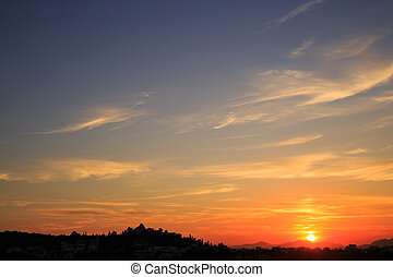 Beautiful sunset background. Athens, Greece.