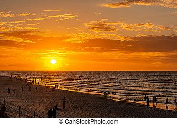 Beautiful sunset by the Baltic Sea in Karwia (Poland)