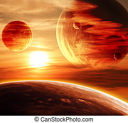 Beautiful sunset, cloud and planet. Elements of this image ...