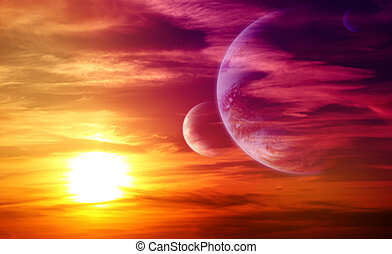 Beautiful sunset, cloud and planets. Elements of this image ...