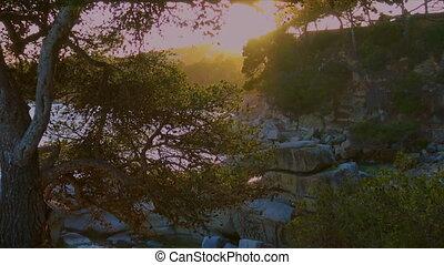 Beautiful sunset colors in a Spanish Costa Brava near the ...