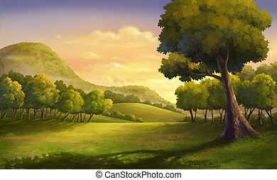 Beautiful sunset - Illustration of an outdoor and meadow at...