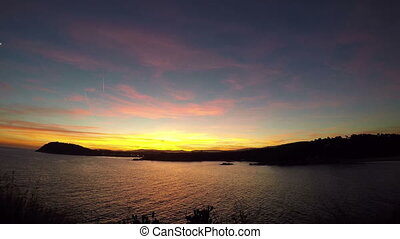 Beautiful sunset in a bay in Costa Brava, Spain
