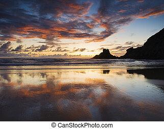 Beautiful sunset in a spanish beach