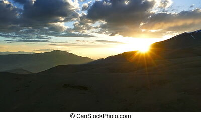 beautiful sunset in Altai mountains, timelapse