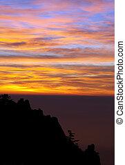 Beautiful sunset in Crimea mountains
