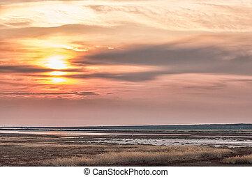 Beautiful sunset in Crimea - Beautiful sunset over Sivash...