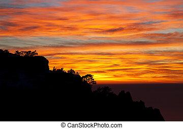 Beautiful sunset in Crimea rocks