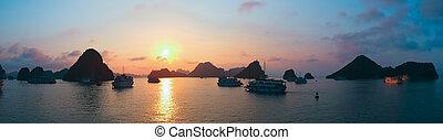 Beautiful sunset in Halong Bay, panorama