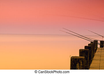 Beautiful sunset in lake Balaton-Hungary.Minimal color style...