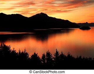 Beautiful Sunset in Lake