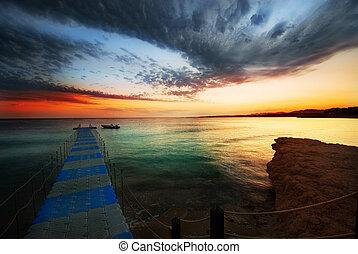 beautiful sunset in sharm el sheikh, egypt