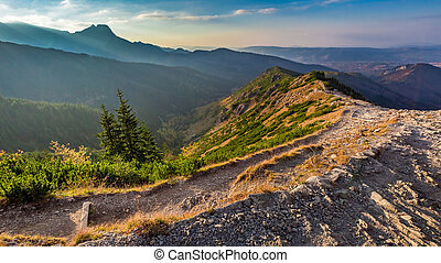 Beautiful sunset in Tatra mountains from the ridge in Poland