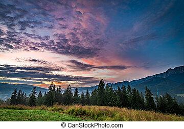 Beautiful Sunset in Tatra mountains, Zakopane, Poland, Europe