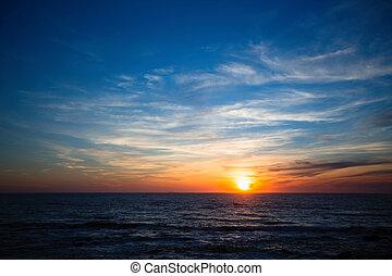 Beautiful sunset in the Atlantic ocean.