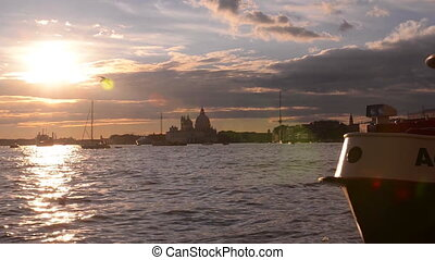 Beautiful Sunset in the bay of San Marco. Venice. Italy.
