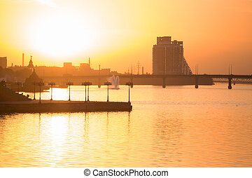 beautiful sunset in the city of the Dnipro