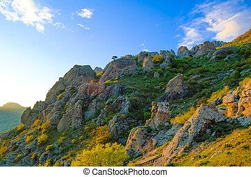 Beautiful Sunset in the Demerdzhi Mountains. Crimea, Ukraine