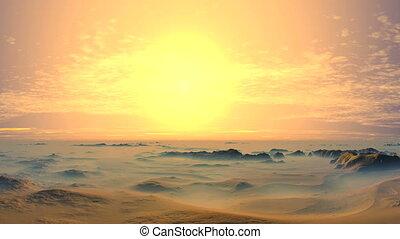 Beautiful Sunset in the Desert - The desert landscape is...