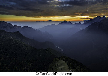 Beautiful sunset in the Dolomites