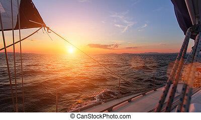 Beautiful sunset in the open sea