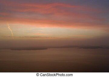 Beautiful sunset in winter drone photo