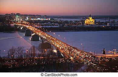 Beautiful sunset in winter Nizhny Novgorod