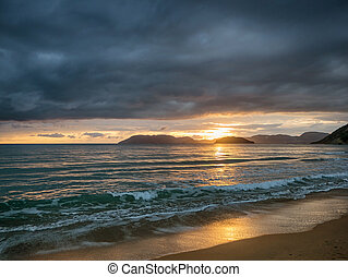 beautiful sunset in zante island