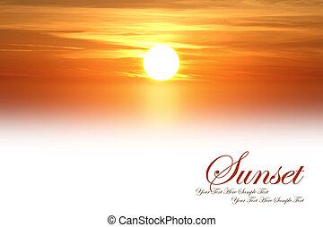 Beautiful sunset isolated on white background